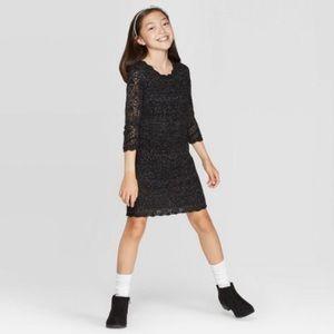 Cat & Jack 3/4 Sleeve Shine Crochet Sweater Dress